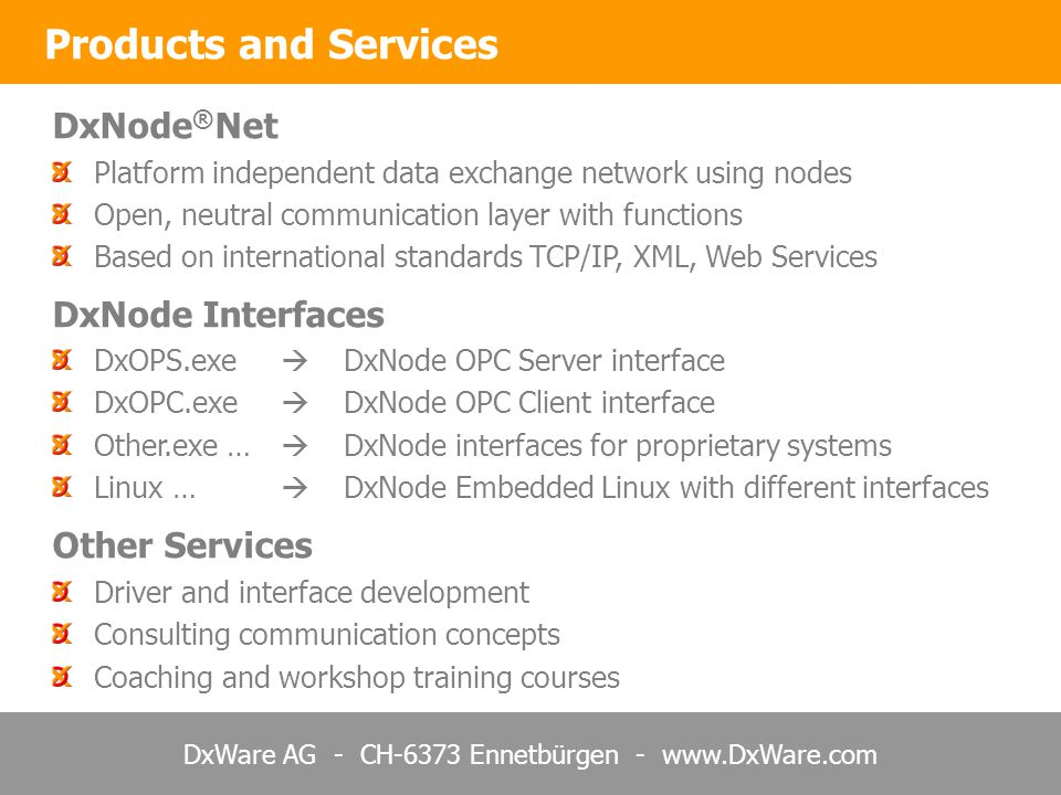 Products and Services DxNode®Net DxNode Interfaces Other Services