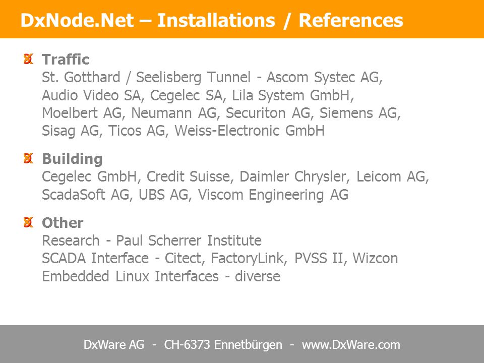 DxNode.Net – Installations / References