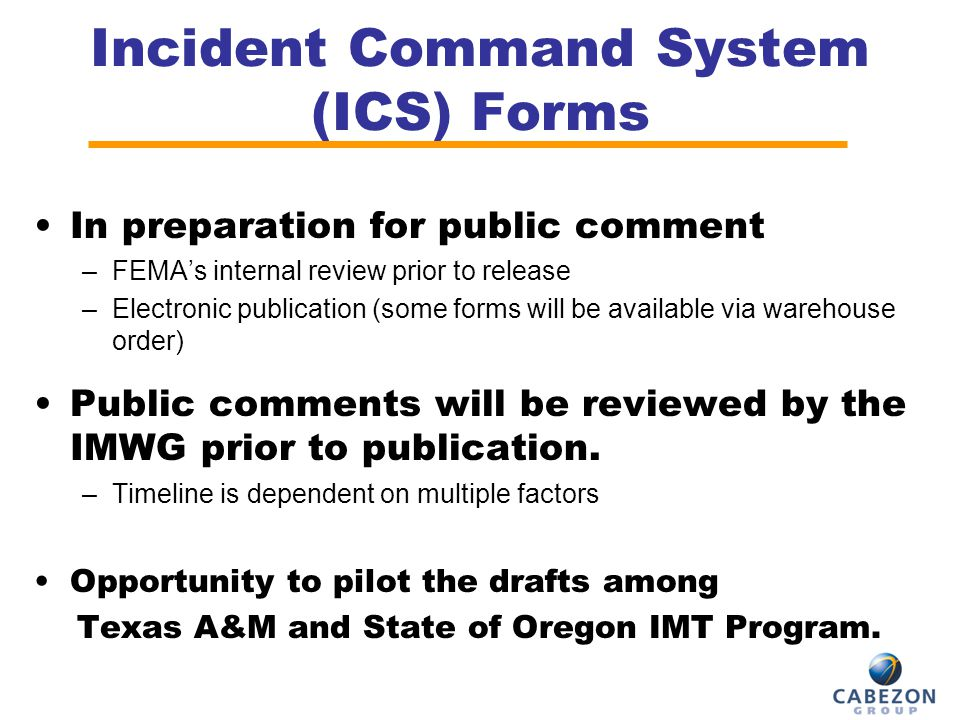 Incident Command System (ICS) Forms