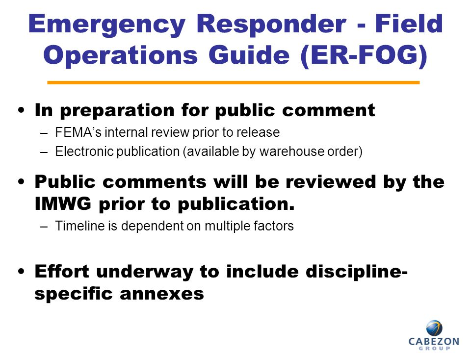 Emergency Responder - Field Operations Guide (ER-FOG)