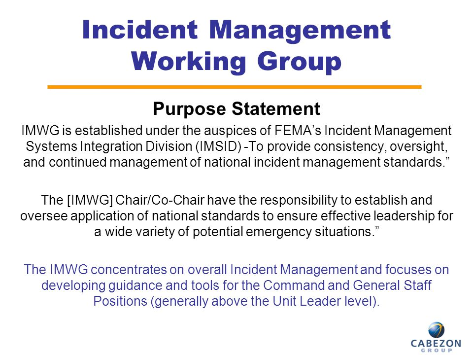 Incident Management Working Group