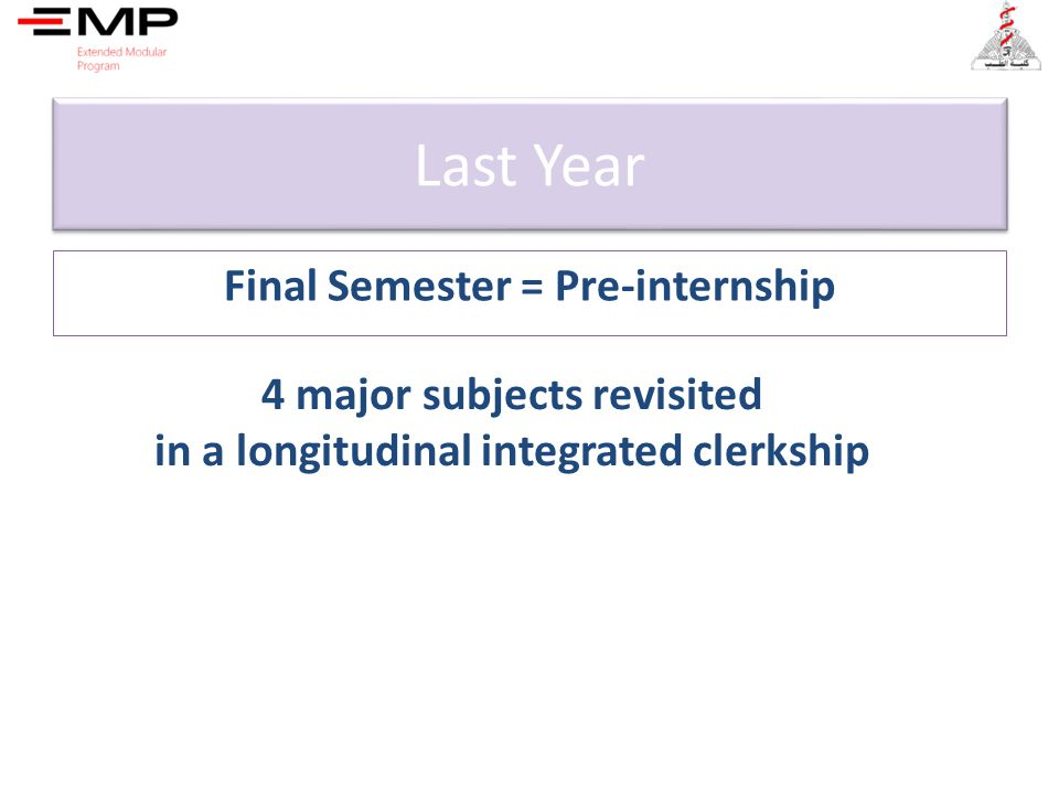 Last Year Final Semester = Pre-internship