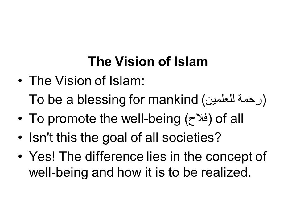 The Vision of Islam The Vision of Islam: To be a blessing for mankind (رحمة للعلمين) To promote the well-being (فلاح) of all.
