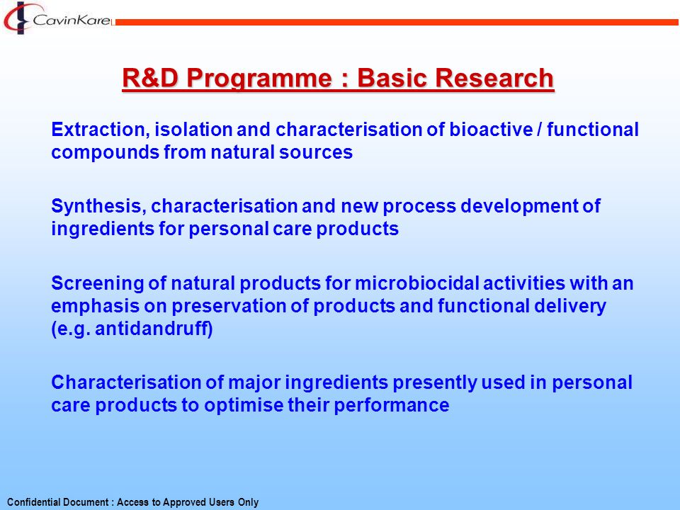 R&D Programme : Basic Research
