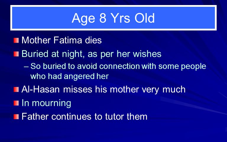 Age 8 Yrs Old Mother Fatima dies Buried at night, as per her wishes