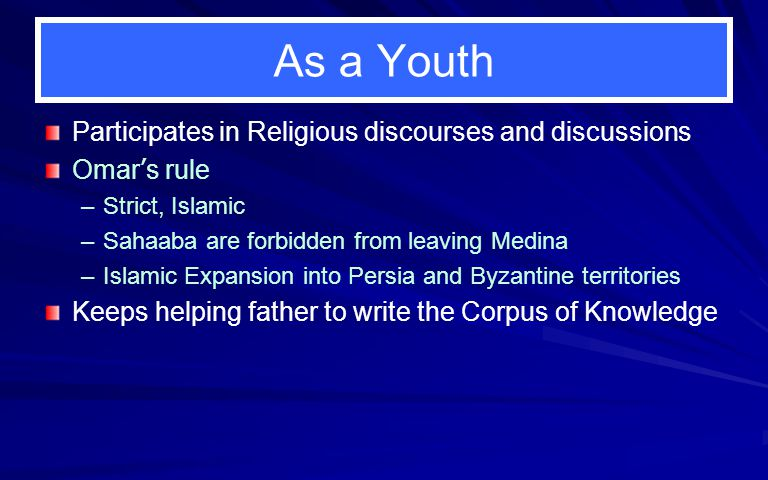 As a Youth Participates in Religious discourses and discussions