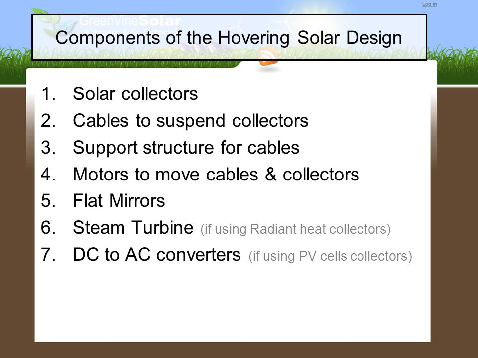 Components of the Hovering Solar Design