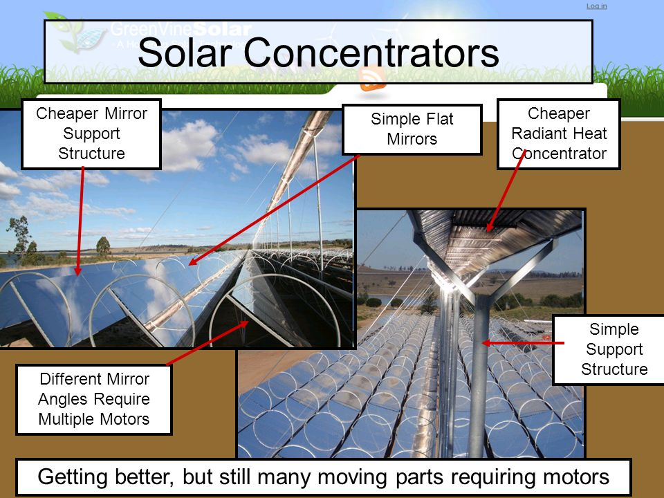 Solar Concentrators Cheaper Mirror Support Structure. Cheaper Radiant Heat Concentrator. Simple Flat Mirrors.