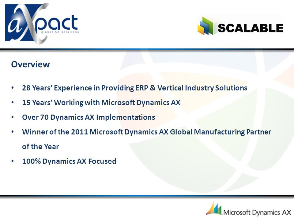 Overview 28 Years' Experience in Providing ERP & Vertical Industry Solutions. 15 Years' Working with Microsoft Dynamics AX.