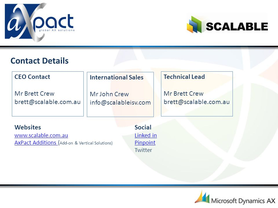 Contact Details CEO Contact Mr Brett Crew brett@scalable.com.au