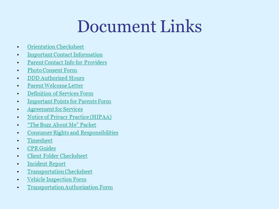 Document Links Orientation Checksheet