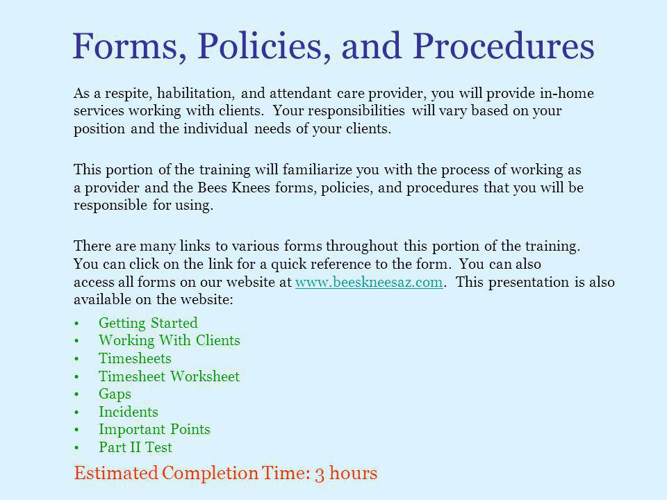 Forms, Policies, and Procedures