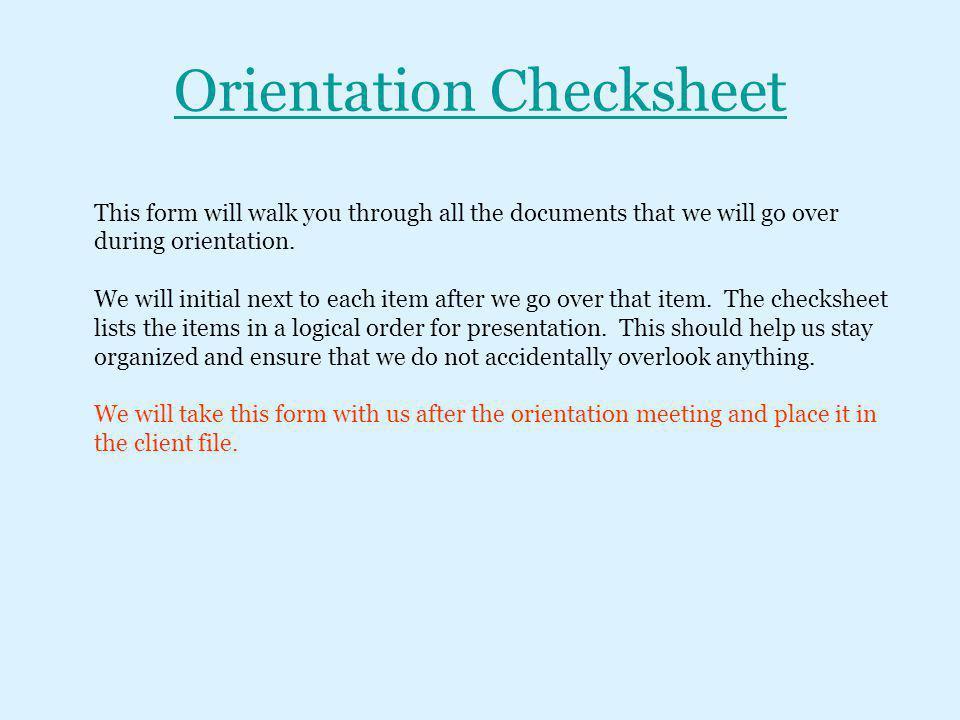 Orientation Checksheet