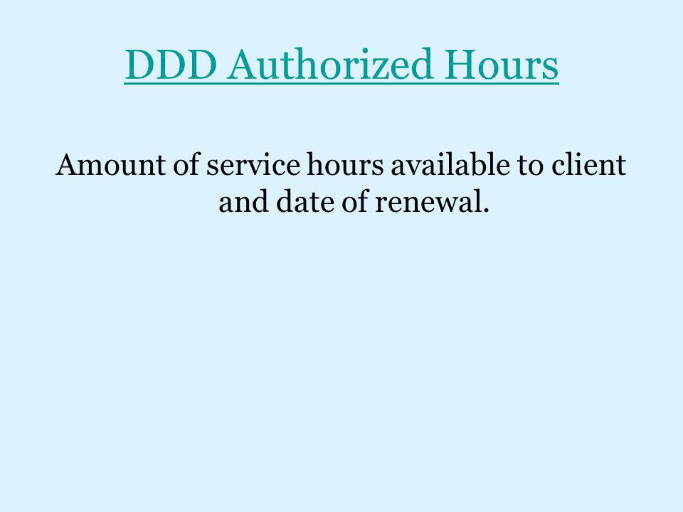 Amount of service hours available to client and date of renewal.