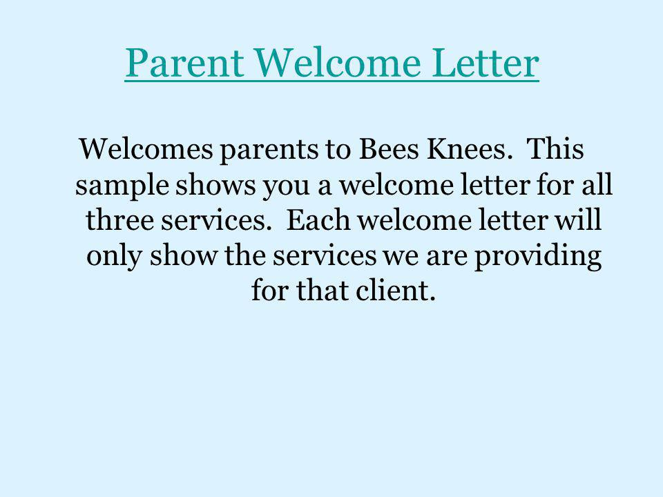 Parent Welcome Letter