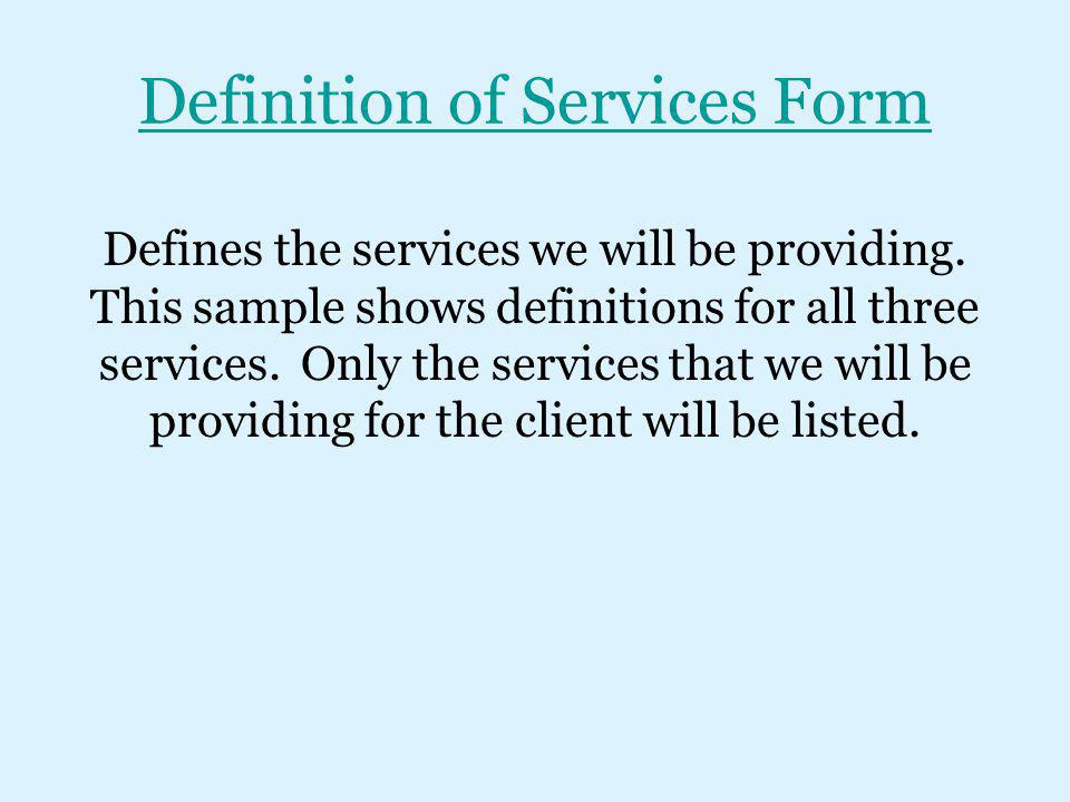 Definition of Services Form