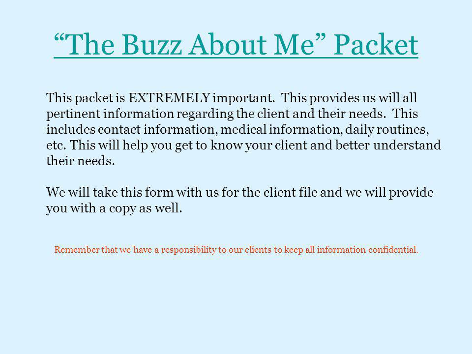 The Buzz About Me Packet