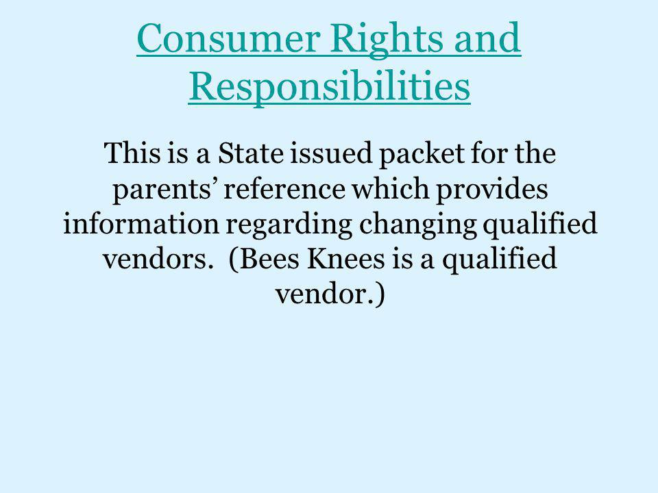 Consumer Rights and Responsibilities