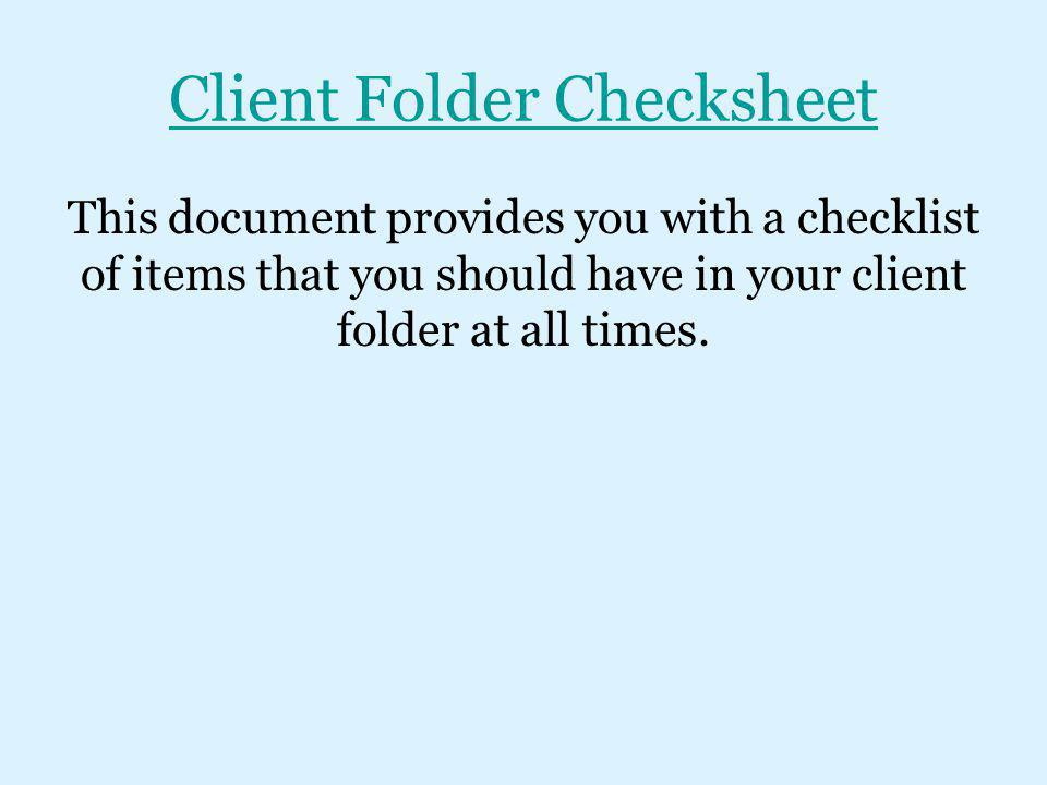 Client Folder Checksheet