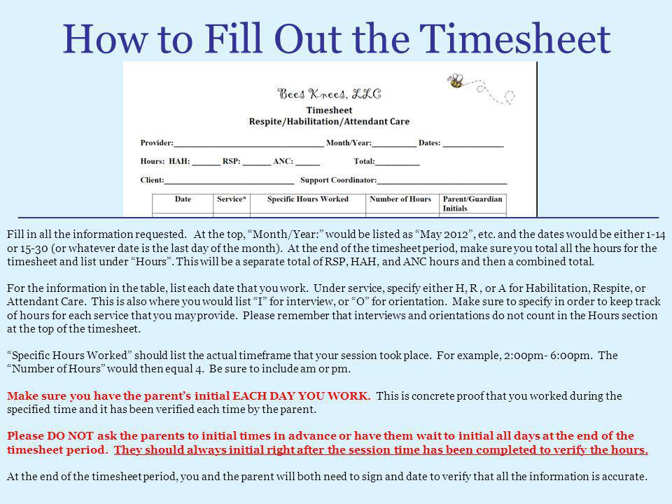 How to Fill Out the Timesheet