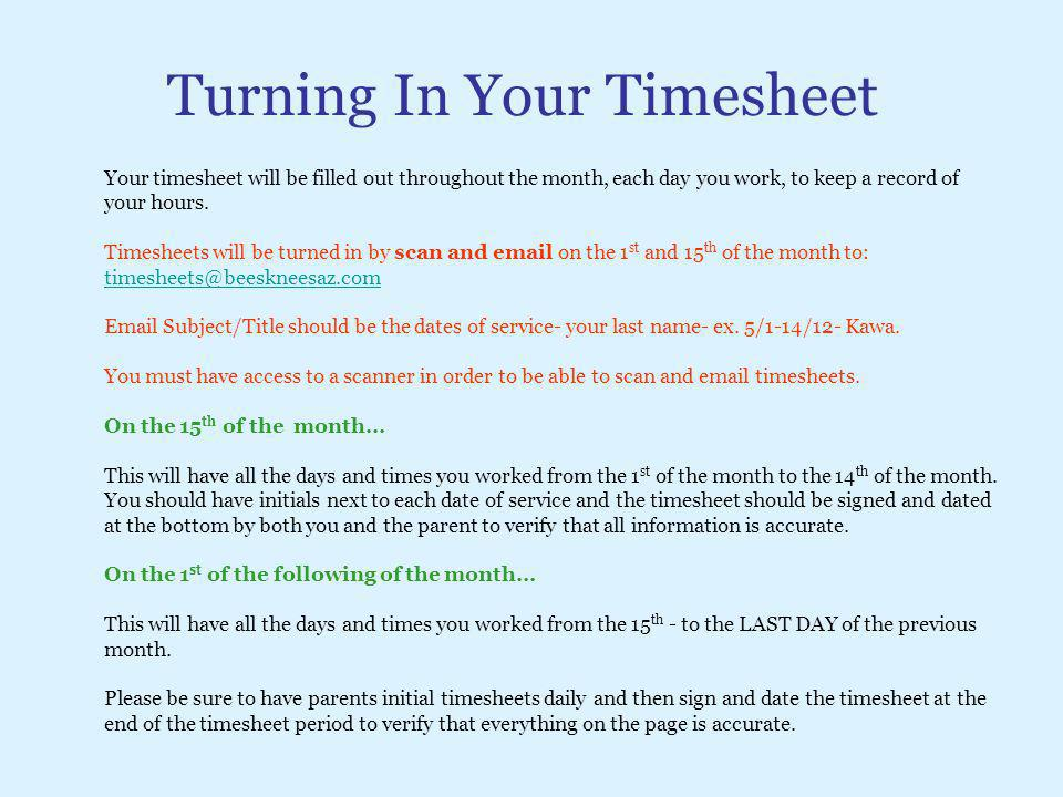 Turning In Your Timesheet