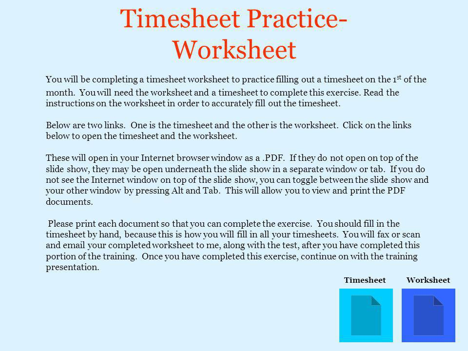 Timesheet Practice- Worksheet