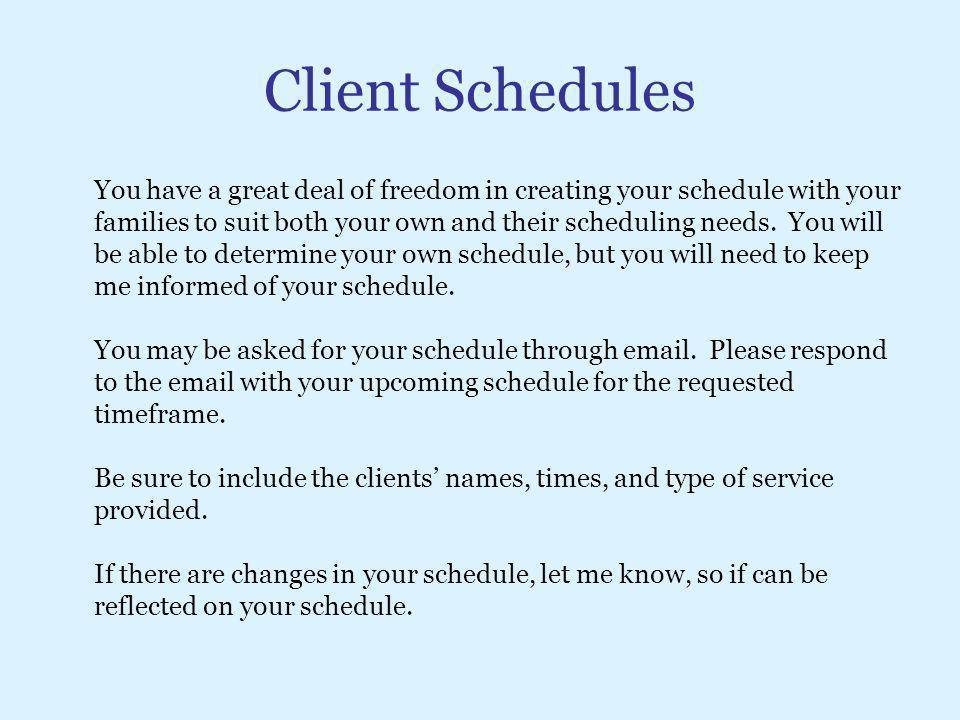 Client Schedules