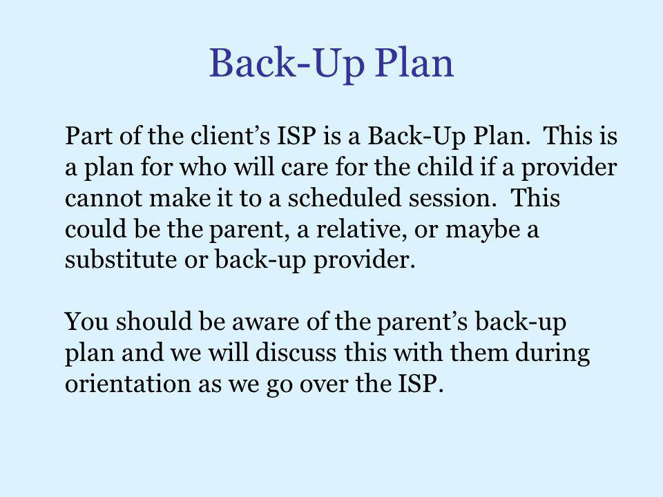Back-Up Plan
