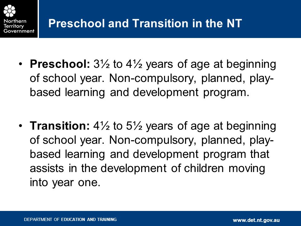 Preschool and Transition in the NT