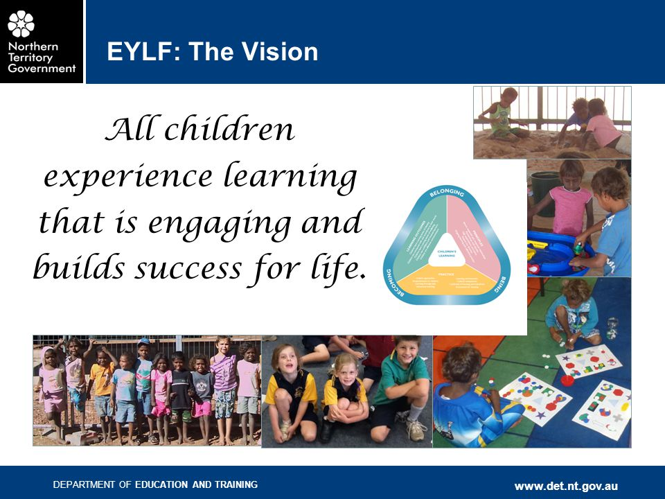 EYLF: The Vision All children experience learning that is engaging and builds success for life. The vision: <read slide>