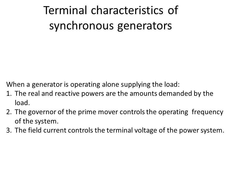 Terminal characteristics of synchronous generators