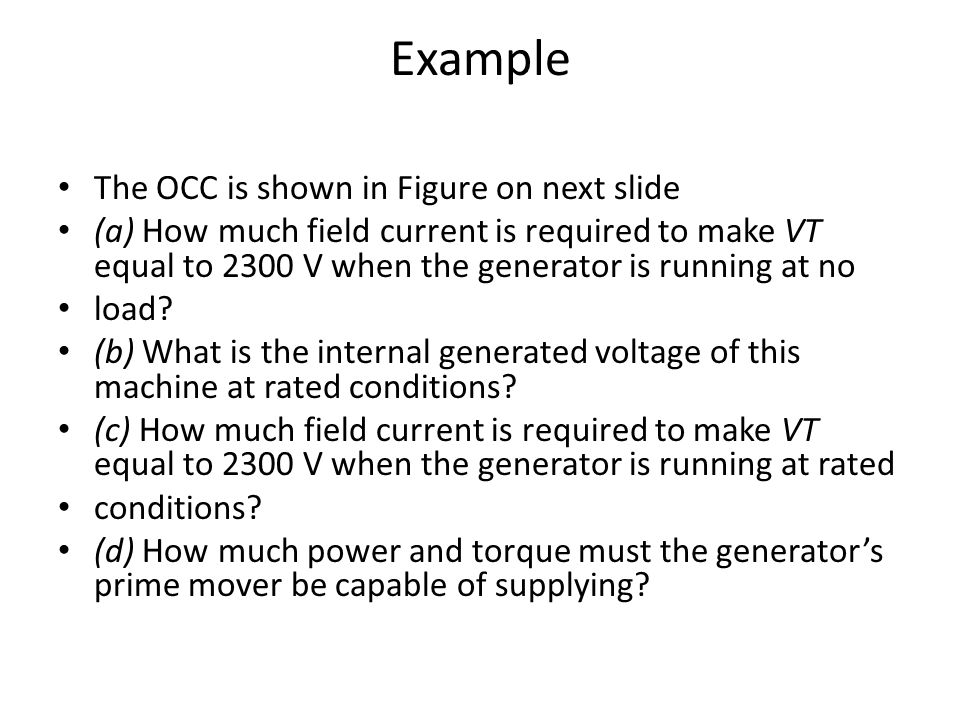 Example The OCC is shown in Figure on next slide