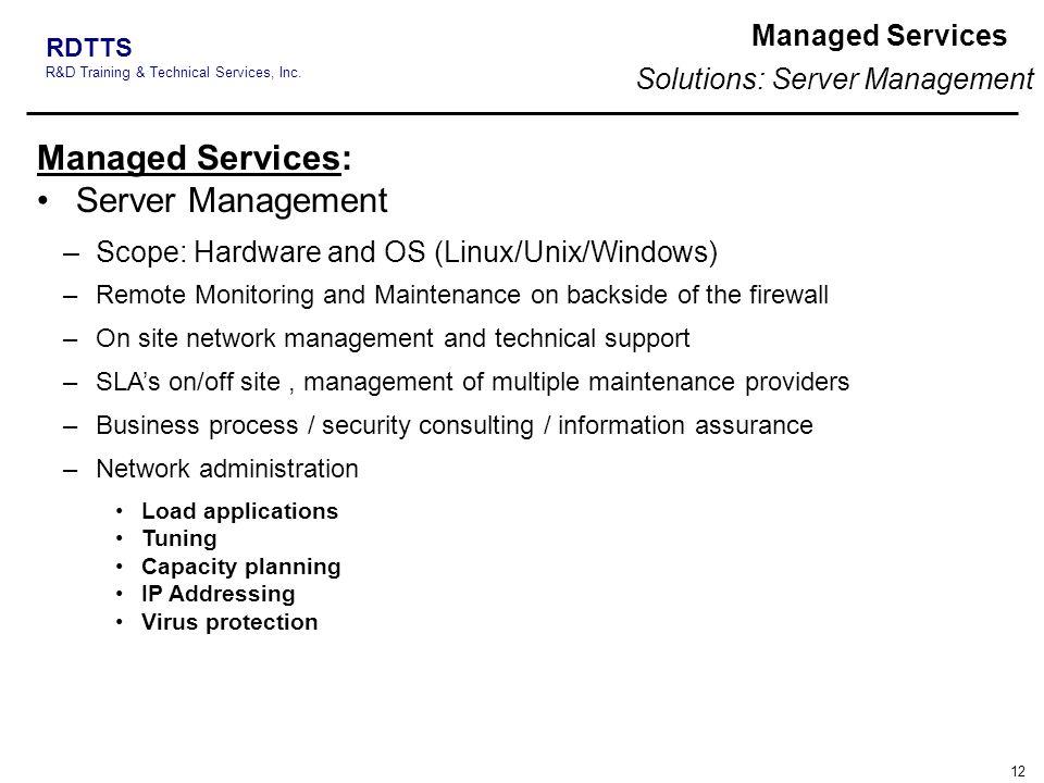 Managed Services: Server Management Managed Services