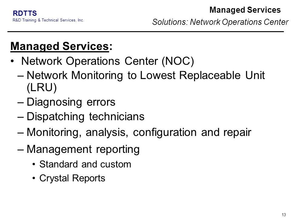 Solutions: Network Operations Center