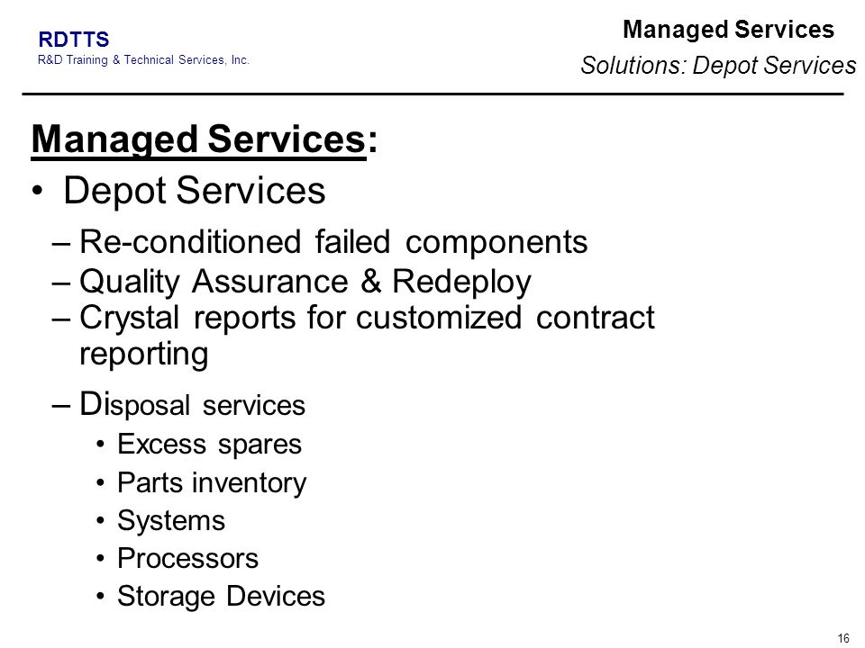 Solutions: Depot Services