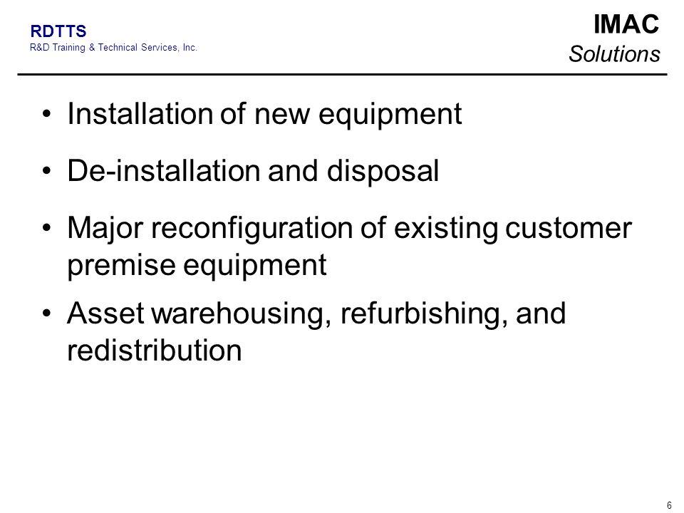 Installation of new equipment
