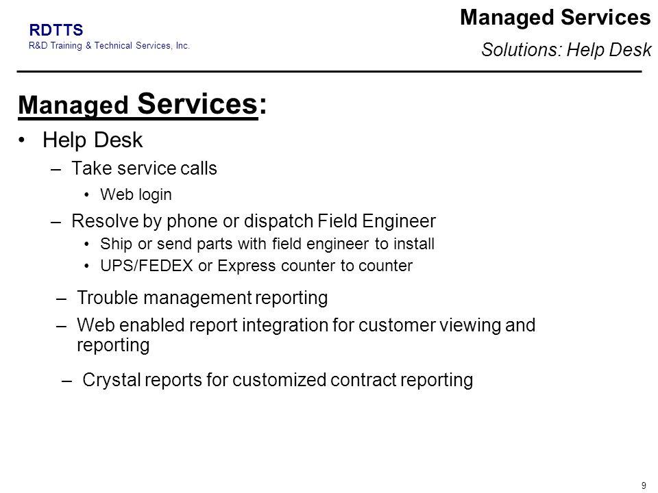 Managed Services: Managed Services Help Desk Solutions: Help Desk