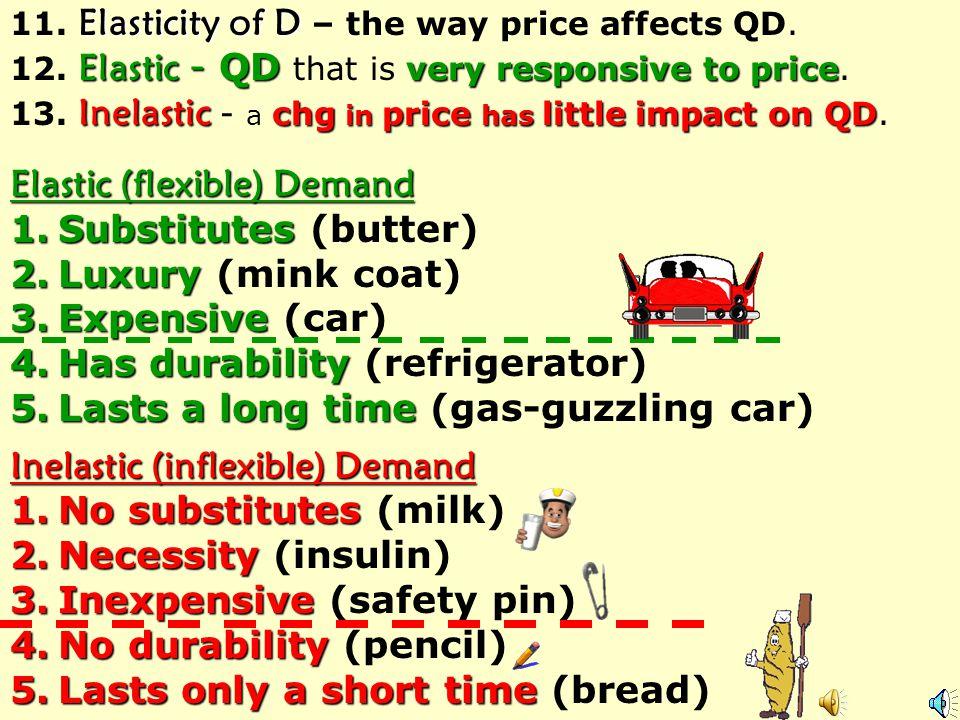 Elastic (flexible) Demand Substitutes (butter) Luxury (mink coat)