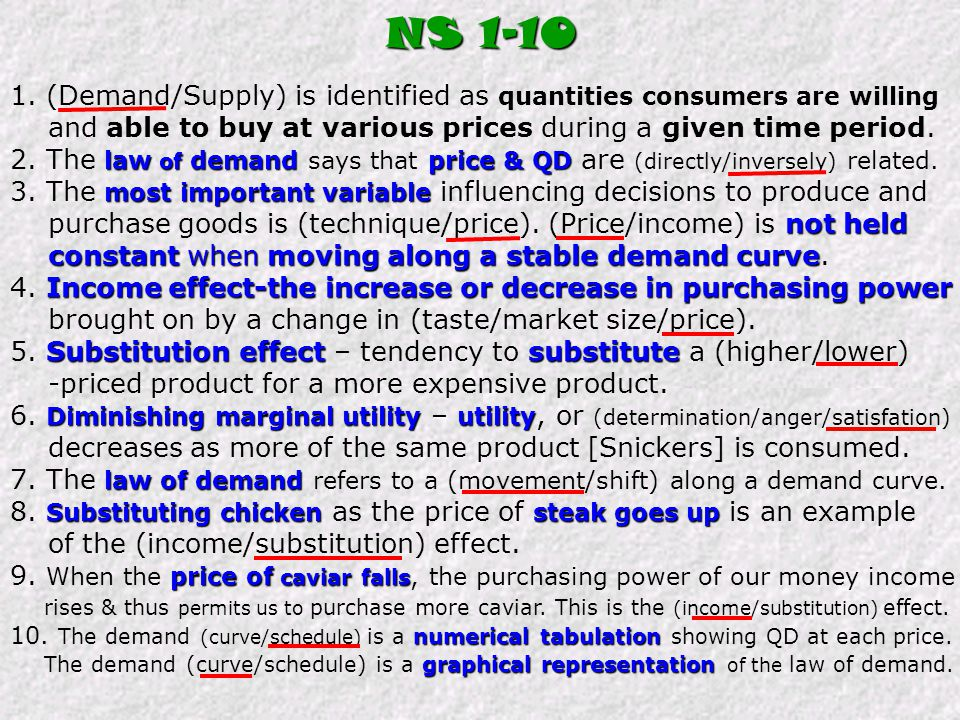 NS (Demand/Supply) is identified as quantities consumers are willing. and able to buy at various prices during a given time period.