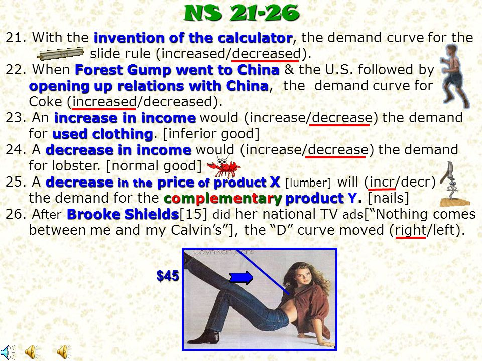 NS 21-26 21. With the invention of the calculator, the demand curve for the. slide rule (increased/decreased).