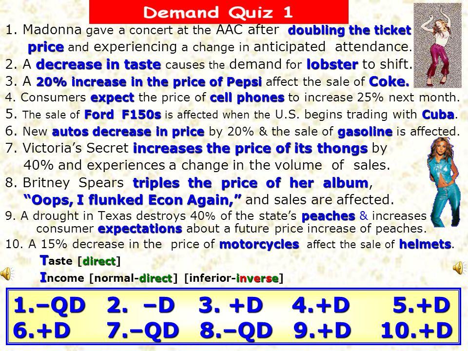 1.–QD 2. –D 3. +D 4.+D 5.+D 6.+D 7.–QD 8.–QD 9.+D 10.+D