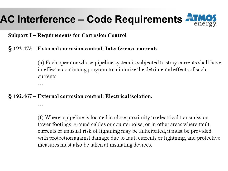 AC Interference – Code Requirements