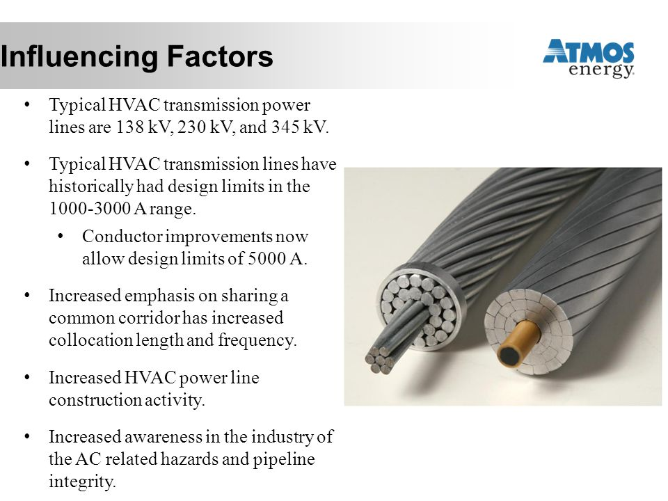 Influencing Factors Typical HVAC transmission power lines are 138 kV, 230 kV, and 345 kV.