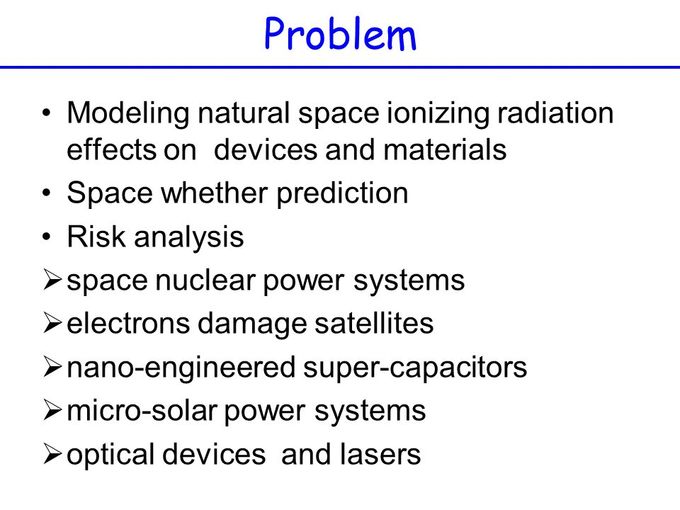 Problem Modeling natural space ionizing radiation effects on devices and materials. Space whether prediction.