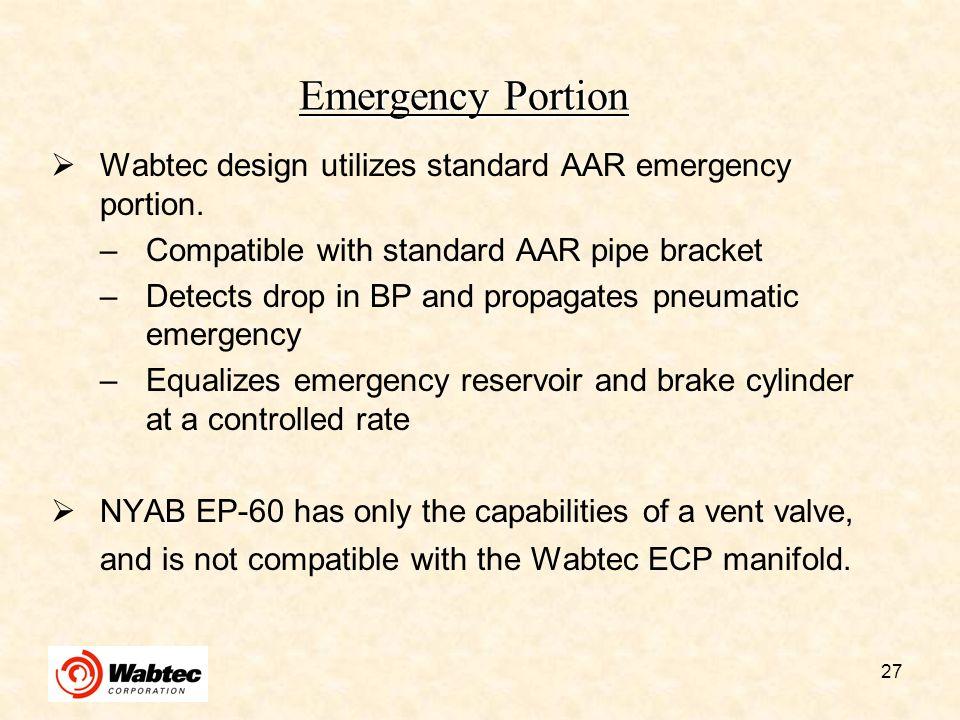 Emergency Portion Wabtec design utilizes standard AAR emergency portion. Compatible with standard AAR pipe bracket.