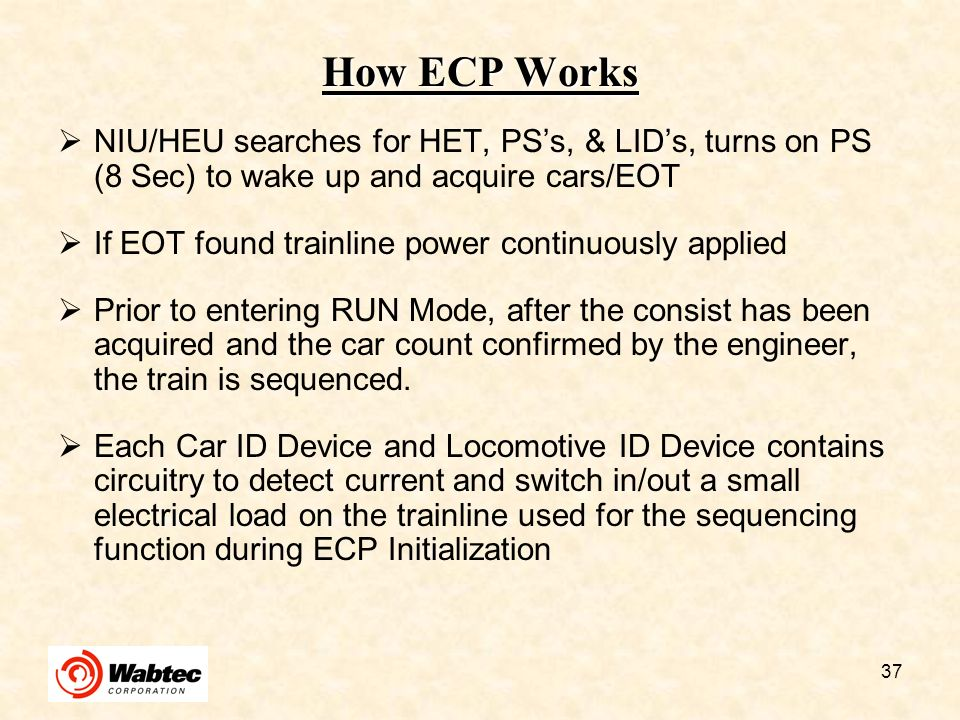 How ECP Works NIU/HEU searches for HET, PS's, & LID's, turns on PS (8 Sec) to wake up and acquire cars/EOT.
