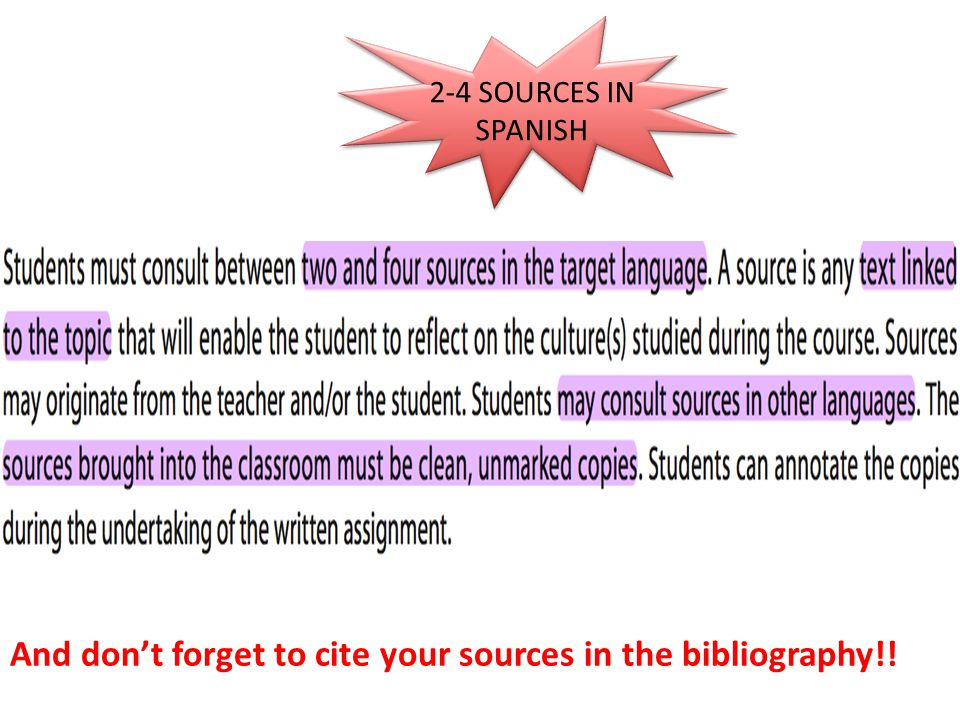 And don't forget to cite your sources in the bibliography!!