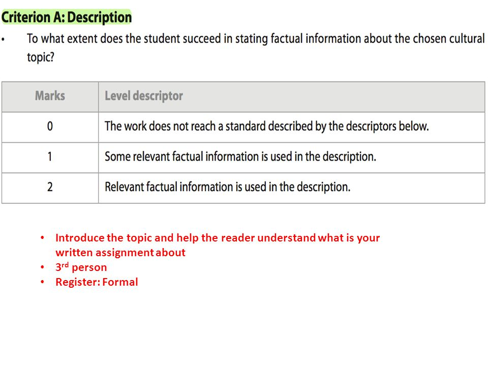 Introduce the topic and help the reader understand what is your written assignment about
