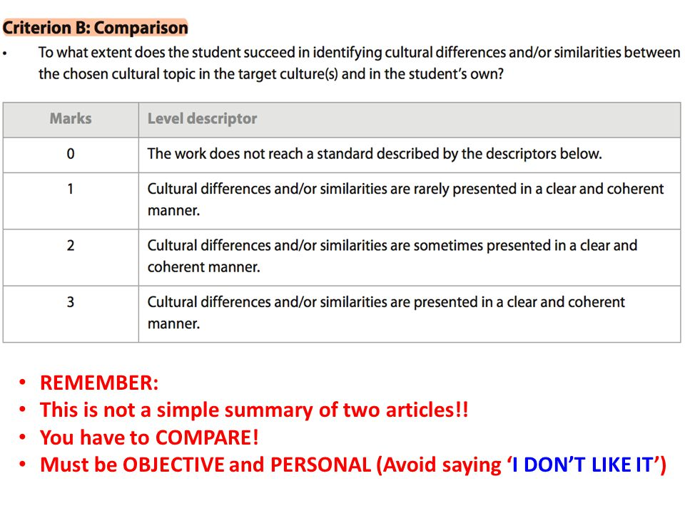 REMEMBER: This is not a simple summary of two articles!.