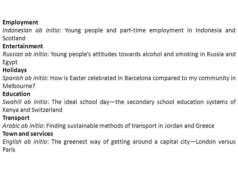 Employment Indonesian ab initio: Young people and part-time employment in Indonesia and Scotland. Entertainment.